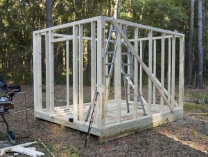 Chicken Coop with walls framed in.